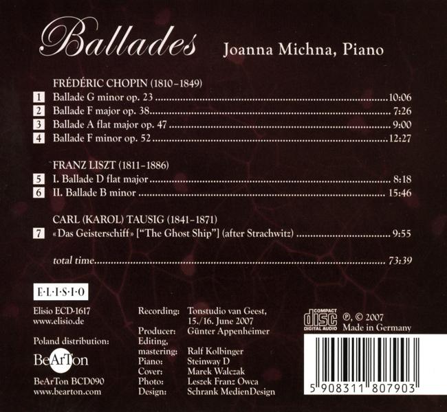 Chopin, Liszt, Tausig - Ballady CDB090